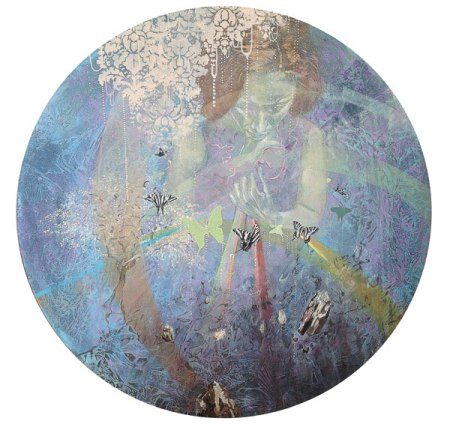 """Remember the Rock From Which You Were Hewn (Isaiah 51:1)"", acrylic on canvas, 36'' diameter"